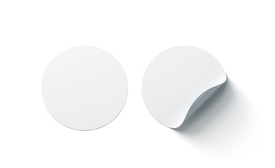 Blank white round adhesive stickers mock up with curved corner, 3d rendering. Empty circle sticky label mockup with curl. Clear adherent tag template for glass door or wall. Fototapete