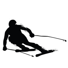 Alpine Skiing Silhouette isolated on white background