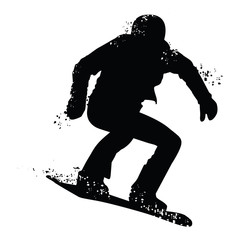Black silhouette of snowboarder isolated on white background