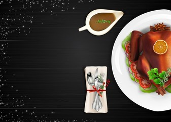 Roasted turkey bird on white plate with spoon, fork and knife on dark wooden table