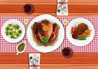 Cooked meat steak with roasted turkey and salad on wooden table
