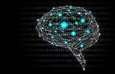 イラスト素材: 脳と人工知能ブラック、AI