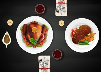 Realistic top turkey composition with treats and grilled meat on table