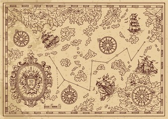 Ancient pirate map with decorative frame, sailings ships and islands. Pirate adventures, treasure hunt and old transportation concept. Hand drawn vector illustration, vintage background
