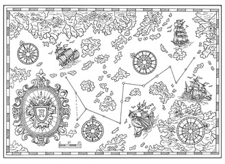 Black and white pirate treasure map with nautical decorative elements. Pirate adventures, treasure hunt and old transportation concept. Hand drawn illustration, vintage background