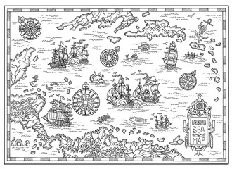 Pirate map of the Caribbean Sea with old ships, islands and fantasy creatures. Pirate adventures, treasure hunt and old transportation concept. Hand drawn illustration, vintage background