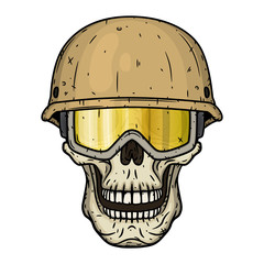 The skull of a soldier wearing a helmet.