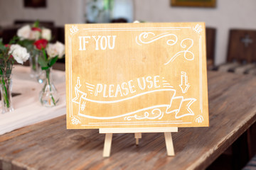 decorative Message Board Easel with empty plain board