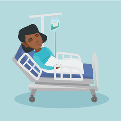Young african-american woman lying in hospital bed with a drop counter during medical procedure. Patient resting in hospital bed. Vector cartoon illustration. Square layout.