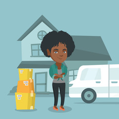 Young happy african-american woman moving to a new house. Homeowner standing on the background of new house and pantechnicon van with cardboard boxes. Vector cartoon illustration. Square layout.