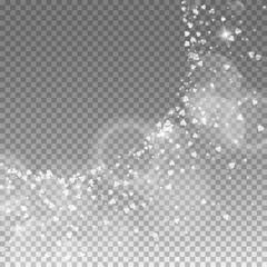 Falling hearts valentine background. Big radiant left top corner on transparent grid dark background. Falling hearts valentines day splendid design. Vector illustration.