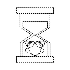 hourglass time sunglasses kawaii character vector illustration sticker design