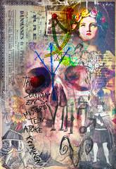 Canvas Prints Imagination Murales,collage e graffiti con teschio e simboli astrologici,alchemici ed esoterici