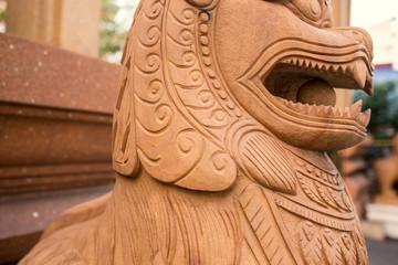 Pottery lion statue