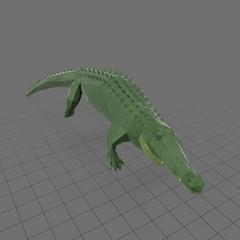 Stylized alligator swimming