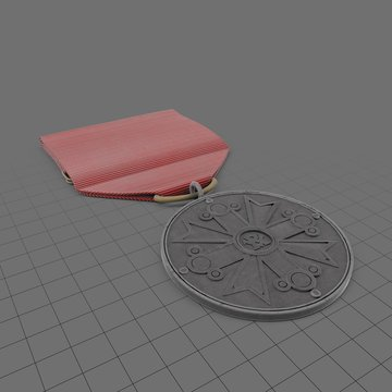 Award medal on red ribbon