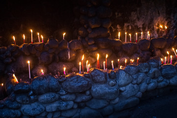 Candles Burning For Devotees at Naga City Catholic Church