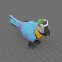 Stylized blue parrot standing