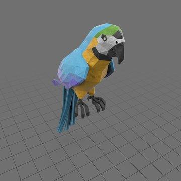 Stylized blue parrot perching