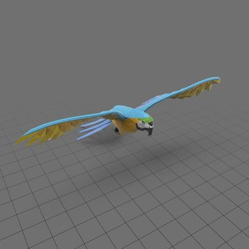 Stylized blue parrot flying