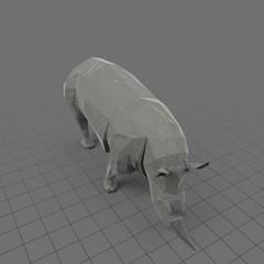 Stylized rhinoceros eating