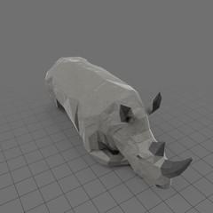 Stylized rhinoceros laying down