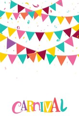 Colorful Party Flags With Confetti And Ribbons On White Background. Celebration and Birthday Design