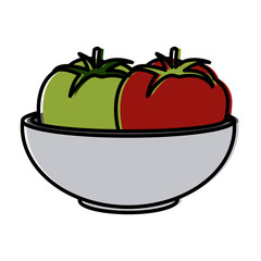 Tomatos on bowl icon vector illustration graphic design