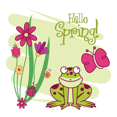 Hello spring card icon vector illustration graphic design