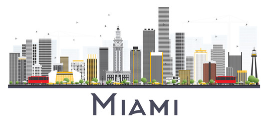 Miami USA City Skyline with Gray Buildings Isolated on White Background.