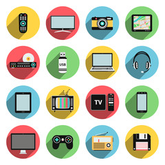 Flat icons set of multimedia and technology devices, audio and video items