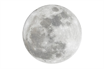 Full moon isolated over white background Wall mural