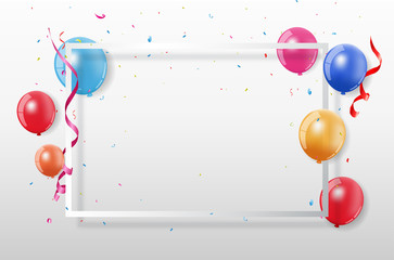 Colorful Party Frame And Confetti On White Background. Birthday and Celebration design