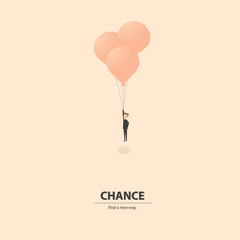 Businessman flying with balloons to get out the old idea and find the new solutions. Business concept of creativity, success, challenge and opportunity.