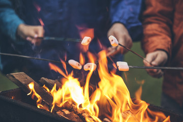 Fototapeten Camping Hands of friends roasting marshmallows over the fire in a grill closeup
