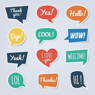 Paper speech bubble with short messages. Thank you, yes, hello, bye, cool, wow, yeah, lol, welcome, etc.