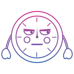 angry clock kawaii icon image vector illustration design purple to blue ombre line