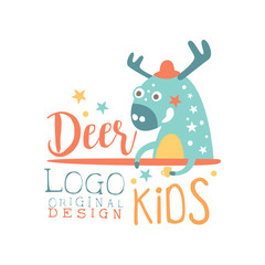 Deer kids logo original design, baby shop label, fashion print for kids wear, baby shower celebration, greeting, invitation card colorful hand drawn vector Illustration