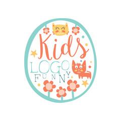 Funny kids logo original design, baby shop label, fashion print for kids wear, baby shower celebration, greeting, invitation card colorful hand drawn vector Illustration