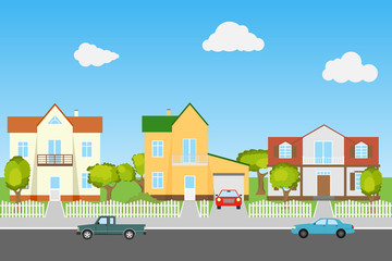 Street with houses and cars on a blue background. The modern street.