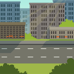 City street with road and city buildings, modern cityscape, urban background vector illustration