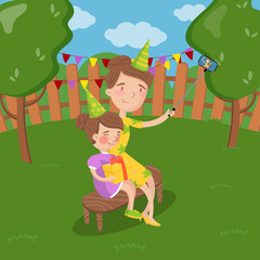 Mother and her daughter wearing party hats taking selfie photo in the garden, summer landscape vector Illustration