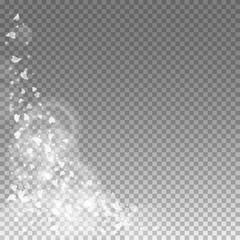 Falling hearts valentine background. Bottom left corner on transparent grid dark background. Falling hearts valentines day cool design. Vector illustration.