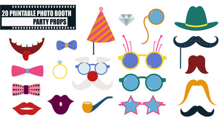 Photo booth props icon set vector illustration
