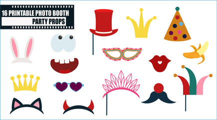 Photo booth props vector illustration