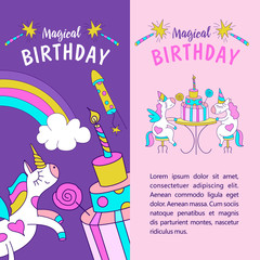 Unicorns. Illustration of happy birthday
