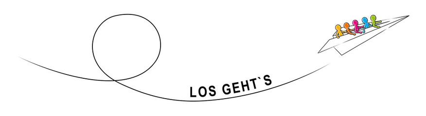 LOS GEHT'S! – Eine Gruppe Strichmännchen fliegt im Papierflieger aufwärts