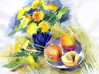 Sunny Still Life with Flowers. Ripe peaches and beautiful dandelions. Useful breakfast with fruit. Watercolor. Illustration