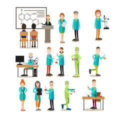 Group of science people vector flat icon set
