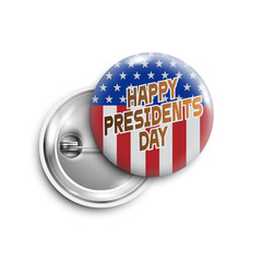 Happy Presidents day button,badge,banner isolated with  with USA flag